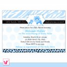 30 Personalized Cute Blue Lion Baby Shower Invitations