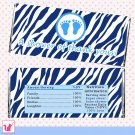 30 Blue Zebra Thank You Baby Feet Candy Bar Wrapper - Baby Shower