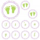 Hand Made Personalized Green Baby Feet Banner - Baby Shower Birthday Customizable For Any Occassion