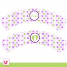 Printable Personalized Polka Dots Lime Green Purple Baby Feet Cupcake Wrapper - Baby Shower Party