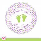40 Personalized Cute Polka Dots Lime Purple Baby Feet Thank You Tags - Baby Shower Party