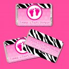 Printable Personalized Cute Hot Pink Zebra Baby Feet Design Mini Candy Wrapper - Baby Shower