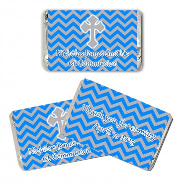 90 Personalized Christening Blue Grey Chevron Design Mini Candy Wrappers - 1st Holy Communion