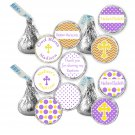 108 Hershey Kiss stickers - Personalized Purple Yellow Chevron Baptism Occasion Labels