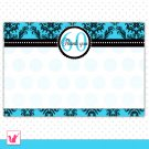 Printable Personalized Damask Turquoise Teal Birthday Anniversary Blank Thank You Card