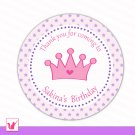 40 Personalized Cute Purple Star Hot Pink Princess Thank You Tags - Birthday Party