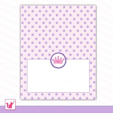Printable Editable Purple Star Hot Pink Princess Food Label Folded Tent Card