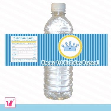 Printable Personalized Blue Stripes Prince Water Bottle Label Wrappers - Birthday Party