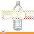 25 Personalized Unisex Polka Dots Water Bottle Label Wrappers - Baby Shower Party