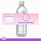Printable Personalized Purple Pink Winter Wonderland Water Bottle Label Wrappers - Birthday Party