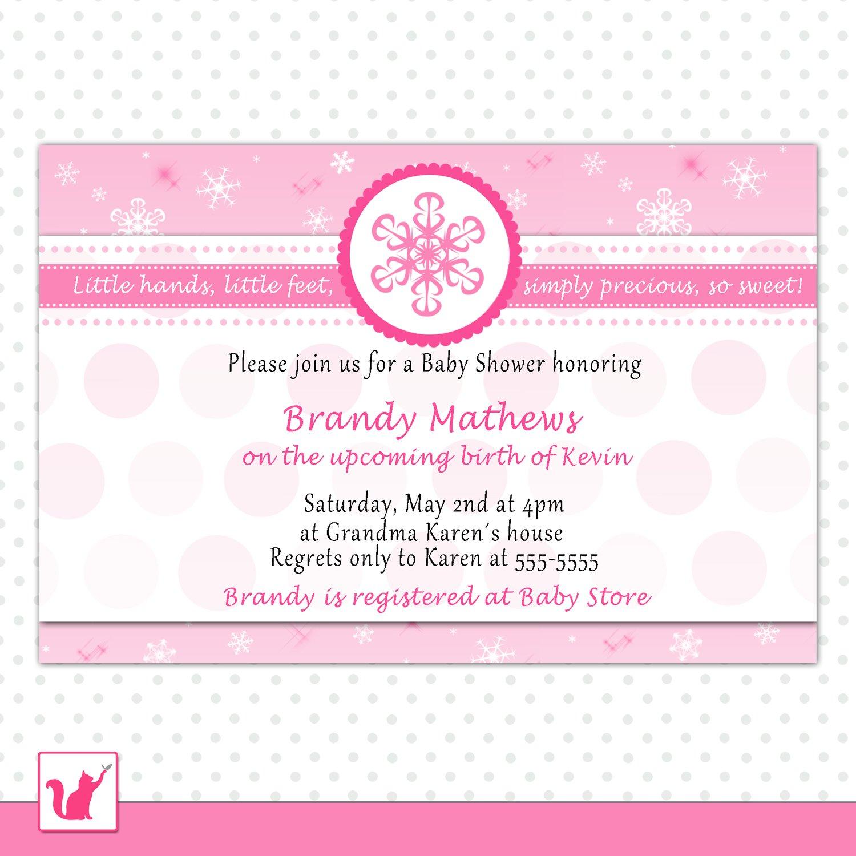 30 invitations baby girl shower pink snowflakes winter wonderland
