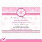 Printable Personalized Pink Winter Wonderland Baby Shower Invitations - Birthday Any Occassion