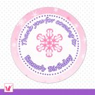 40 Printable Personalized Purple Pink Winter Wonderland Thank You Tags - Birthday Party