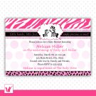 30 Personalized Cute Zebra Baby Shower Invitation - Pink Jungle Leopard Birthday Any Occassion