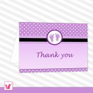 Printable Editable Purple Polka Dots Baby Feet Bay Shower Folded Thank You Tent Card