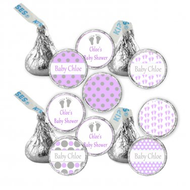 216 Hershey Kiss stickers - Personalized Purple Grey Baby Feet Baby Shower Labels