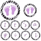 &#39;Its a Girl&#39; Printable Purple Baby Feet Jungle Banner - Baby Shower Birthday Any Occassion