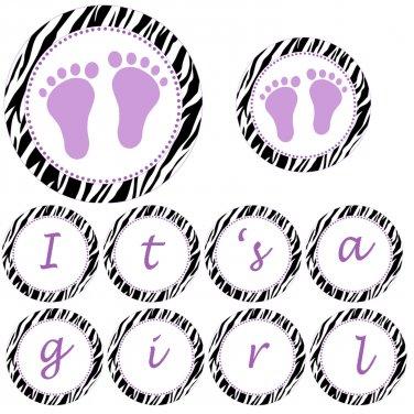 Hand Made Personalized Purple Baby Feet Jungle Banner - Baby Shower Birthday Customizable