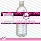 25 Personalized Dainty Damask Hot Pink Birthday Water Bottle Labels - Custom Occassion Wraps