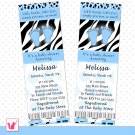 50 Personalized Blue Black Zebra Leopard Print Baby Shower Invitation Ticket - Polka Dots Boy Custom
