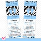 Printable Personalized Blue Black Zebra Leopard Print Baby Shower Invitation Ticket - Boy Custom