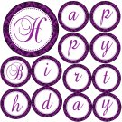 &#39;Happy Birthday&#39; or &#39;Its a Girl&#39; Printable Purple Damask Banner - Baby Shower Birthday Any Occassion