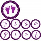 Hand Made Personalized Purple Damask Baby Feet Banner - Baby Shower Customizable For Any Occassion