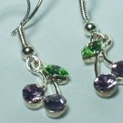 Gemstone purple cherry style earring with silver hook