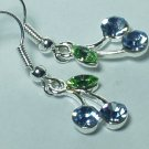 Gemstone blue cherry style earring with silver hook
