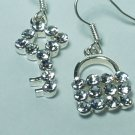 Rhinestone Lock and Key style Earring with silver hook