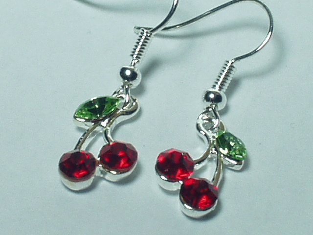 Gemstone style Red Cherry Earring with silver hook