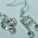 Rhinestone style music note earring with silver hook