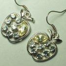 Dangle apple rhinestone style earring silver hook
