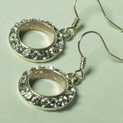 Dangle rhinestone ring style earring with silver hook