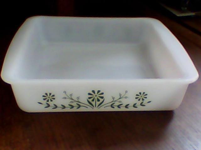 "vintage glasbake 8"" green floral casserole baking dish jeannette milk glass"