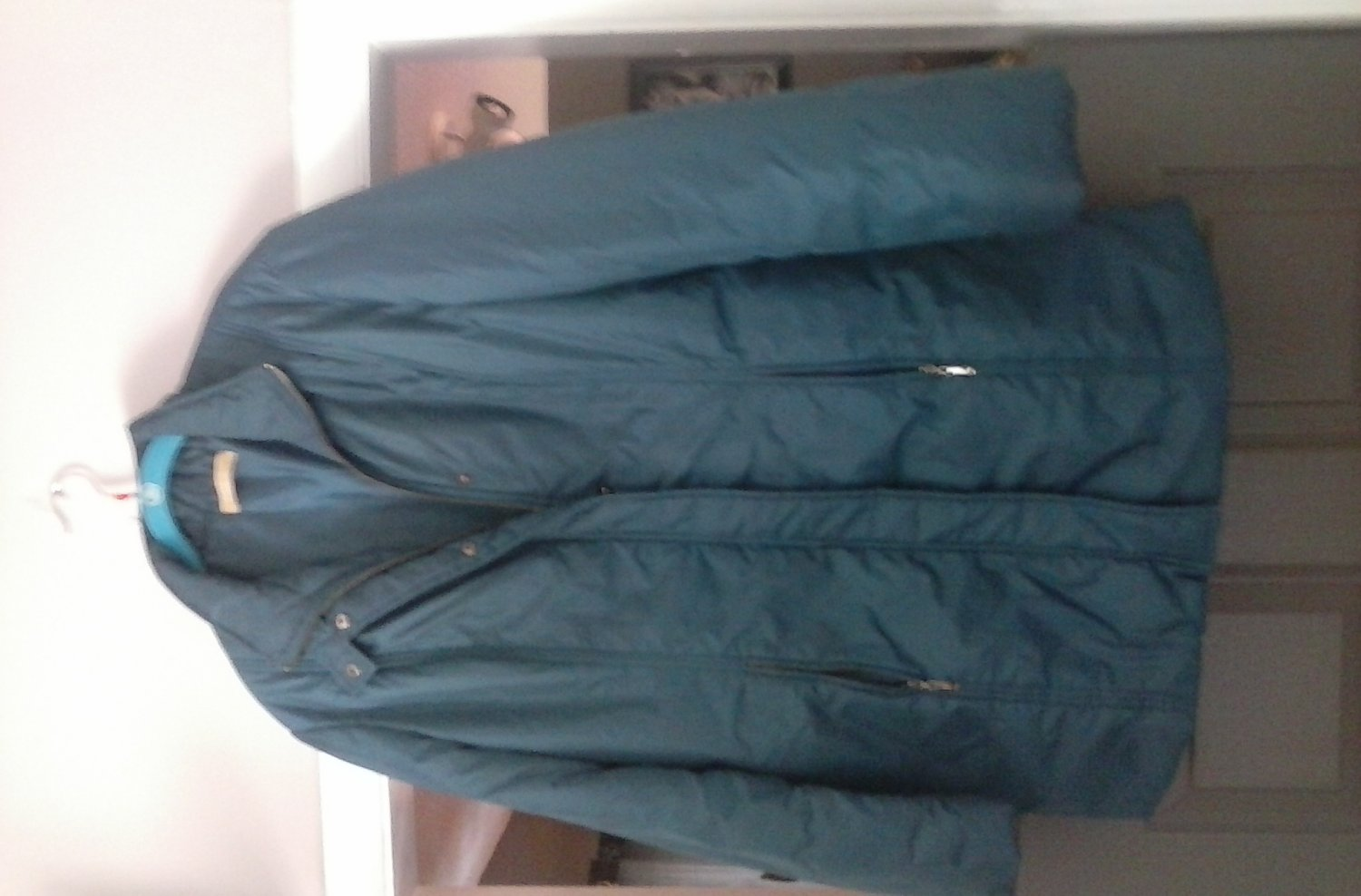 Womens coat kate hill size 14 blue pre-owned like new double zipper