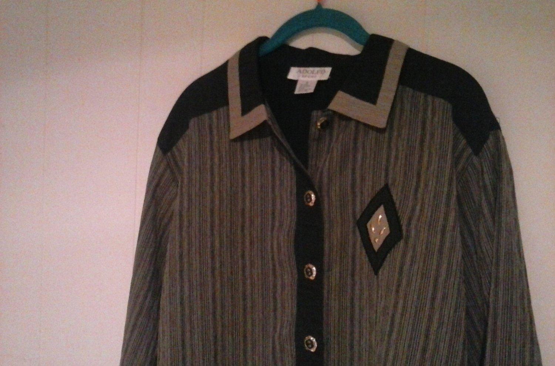 Womens dress shirt,blouse w/ collar adolfo sport size L unique