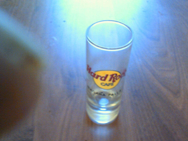 tall clear glass collectable shot glass hard rock cafe niagara falls