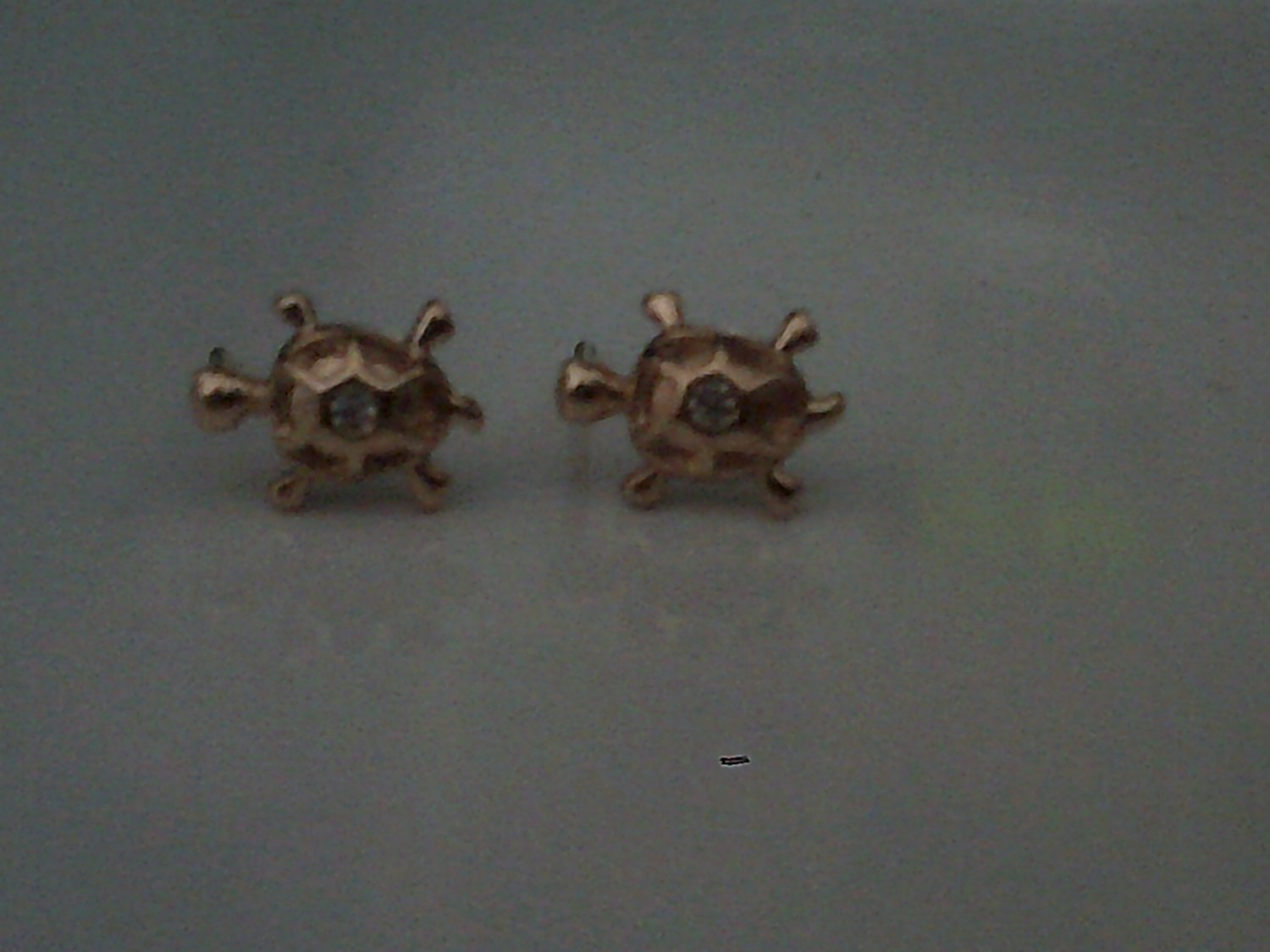 18k gold plated earrings turtle with cz stone