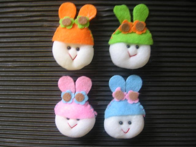8pcs Fabric Puffy Kiddy Heads~Card Topper/Sewing/Paper