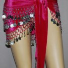Hot Pink Coin Wrap Belt Belly Dance Heavy Hip Scarf S