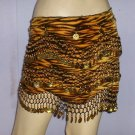 Tiger print Hip Scarfe Gold Coin Bollywood Dance EHS