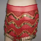 Red Professionally hand Made Hip Scarve sakira Dance EHS