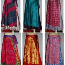 2 layer silk sari Wholesale 20 pc Multiwear Vintage Boho beach wear skirt