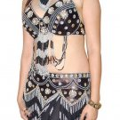 Black Belly Dancing Costume Set with Bra belt and Skirt