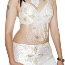White Gold Professionally Handmade Belly Dancing Costume Set
