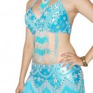 Turquoise Silver Belly Dancing Costume Set with Bra Belt and Skirt