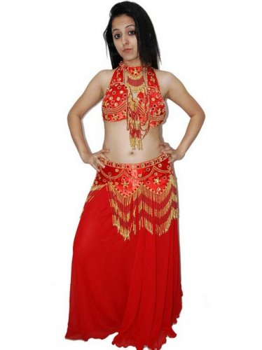 Red Gold Belly Dancing Costume Set with Bra Belt and Skirt