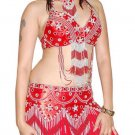 Red Silver Belly Dancing Costume Set with Bra Belt and Skirt