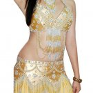 Gold Belly Dancing Costume Set with Bra Belt and Skirt